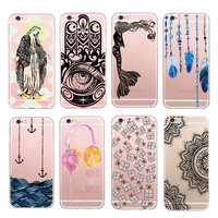 New Ultra Thin Anchor Sea Music Feather Design Transparent Soft TPU Phone Case Coque For iPhone SE 5S 6 6S 7 6Plus Fashion Cover