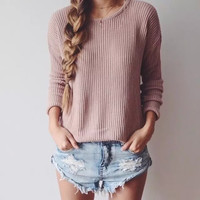 LOOSE ROUND NECK PULLOVERS