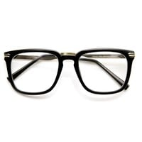 High Fashion Metal Temple Clear Lens Square Spectacle Eye Glasses