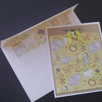 Happy Birthday Card with Baby Safari Animals in Yellows and Browns on Handmade Artists' Shop