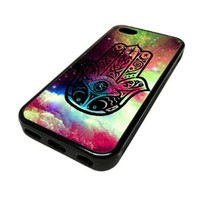 Apple iPhone 5 or 5S Case Cover Skin Hamsa Nebula Hand Space Clouds DESIGN BLACK RUBBER SILICONE Teen Gift Vintage Hipster Fashion Design Art Print Cell Phone Accessories