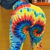 Explosive women's high-waisted slim fashion printed straight casual pants