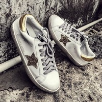 GRAM EPOS New Women Casual Shoes Glitter Leather Do Old Dirty Shoes Mixed Color Women Sequins Star Golden Fleeces trainers