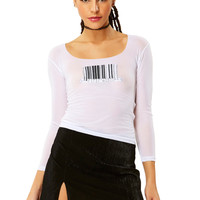 Decoded Embroidered Mesh Top - White