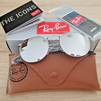 NEW GENUINE 80% Off Ray Ban Round Silver Frame Silver Mirror Lens Sunglasses
