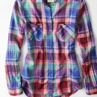 AEO Women's Plaid Girlfriend Shirt (Burgundy)