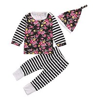 3Pcs Autumn Spring Newborn Infant Baby Girl Floral Clothes Long Sleeve Tops+Striped Pants Leggings Hat Outfits Set