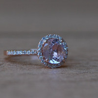 1.76ct round Peach sapphire Champagne sapphire ring diamond ring 14k rose gold Engagement ring