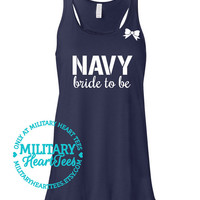 Custom Navy Bride to Be Racerback Tank Top, Military Shirt for Wife, Fiance, Workout