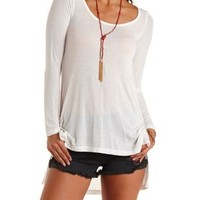 White Long Sleeve High-Low Tee by Charlotte Russe