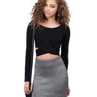 Long Sleeve Bodycon Cutout Cropped Top