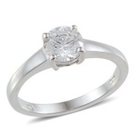 J Francis - Solitaire Ring in Sterling Silver with SWAROVSKI ZIRCONIA (Size 9)