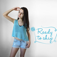FREE SHIPPING Pure cotton Knit summer cropped top Light summer knitwear Turquoise Cyan womens crop tank Teenage girl short top Ready to ship