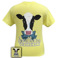 Girlie Girl Southern Originals Preppy Cow Corn Silk T-Shirt