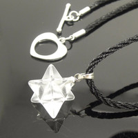 1PC Natural Clear Crystal Merkabas Necklace or Healing Crystal Points Pendulum Pendant Birthday Gift