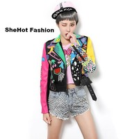 Women Fashion Colorful Rainbow Yellow/Pink Sleeve Motorcycle Jacket
