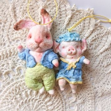 Set Christmas ornaments Spun cotton Christmas Home decor Vintage technique Bunny Pig 2019
