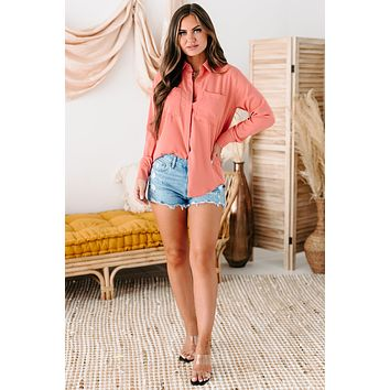 Martina Long Sleeve Button-Down Top (Dusty Pink)