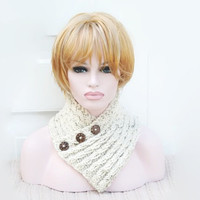 Chunky Knit Cream Fleck Knitted Cowl Neck Warmer Winter Accessory