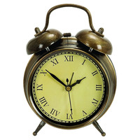 """One Kings Lane - Beside the Bed - 6"""" Classic Alarm Clock, Bronze"""