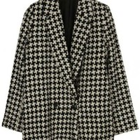 Black Lapel Long Sleeve Houndstooth Coat - Sheinside.com