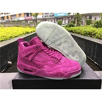 2017 New KAWS Air Jordan Retro 4 Purple Basketball Shoes 4s IV Men Women High Quality Sports Suede Sneakers With Box Size 5.5-13
