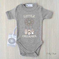 Dream Catcher Baby Bodysuit. Gender Neutral Baby Clothes. Little Dreamer Baby Shirt. Tribal Baby Clothes.