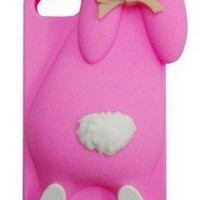 3D Cute Milan Bunny Rabbit Rubber Soft Silicon Case Cover For iphone 5 5G 5S 4 4S 4G delux colors (Red for iphone 5 5s)