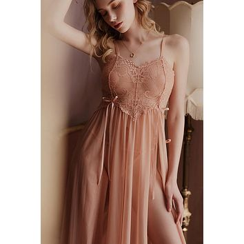 Womens Nightgown Sleepwear Long Split Mesh Perspective Home Clothes Hot Lace Nightdress Sexy Lingerie Babydoll Robe Underwear