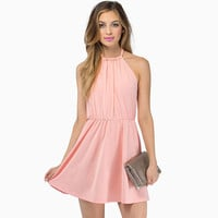 Pink Halter Ruched Bow Tie Backless Skater Dress
