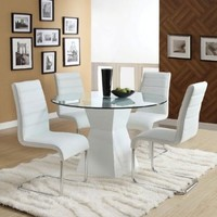 Sumiton Contemporary Style White Finish 5-Piece Glass Top Dining Table Set