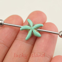starfish earring, turquoise industrial barbell,gypsy industrial barbell,friendship ear piercing,bestfriend gift