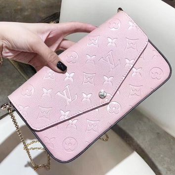LV Louis Vuitton New fashion monogram leather shoulder bag envelope bag three piece suit women Pink