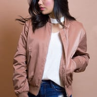 So Rose Gold Bomber Jacket