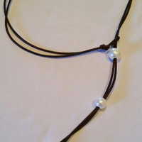 Pearl and AAA Leather (Wear it 3 Ways) Choker, Necklace and Lariat