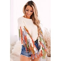 Anya Fringe Sweater (Cream Multi)