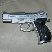 Silver Beretta M92G CQB Shaped Novelty Pistol Gun Jet Torch Lighter USA Stocked