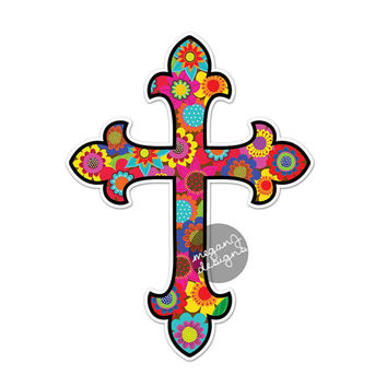 Cross Car Decal - Floral Colorful Bumper Sticker Christian Laptop Decal Pink Green Teal Yellow Cute Car Decal Flowers Hippie Boho