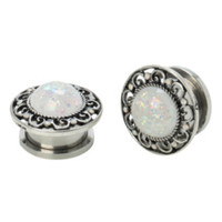 Steel Opal Filigree Spool Plug 2 Pack