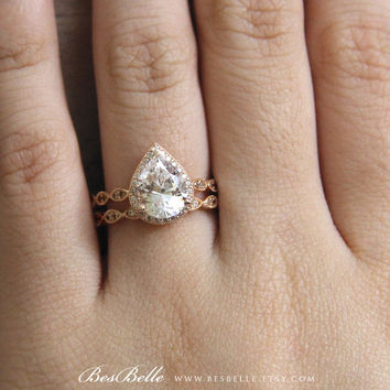 Rose Gold Art Deco Bridal Set Ring-Pear Cut 3.12 ct.tw Diamond Simulants-Halo Engagement Ring-Eternity Ring-Sterling Silver-R62753RG-2