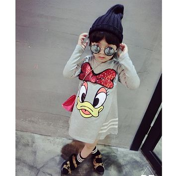 New spring fashion girl long sleeved cotton baby casual dress girl cartoon butterfly print Baby Dress / Dress / children 3-7y