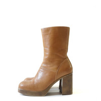 Steve Madden 90s Leather Tall Boots, Chunky Vintage Boots, Women's Size US 8