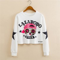 Stylish Hoodies Round-neck Pullover Print Long Sleeve Hats [9101511431]