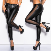 Fashion Women's Black Lace Pathwork Faux Leather Black Wetlook Leggings Tights Pants = 1930321988