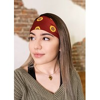 Maroon Sunflowers Antimicrobial Yoga Headband