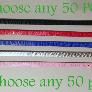 50 pc choice of any 50 PC PU leather wrist slide adjustable bracelet fits DIY 8mm letters and charms / wholesale 8mm slider bracelets