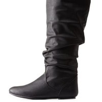 Black Slouchy Flat Knee-High Boots by Charlotte Russe