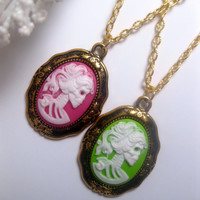 Day Of The Dead Neon Pink Lady Lolita Skeleton Cameo Necklace Gold