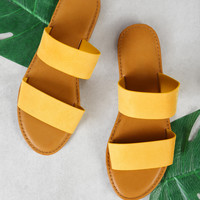 Double Band Slide Sandal YELLOW
