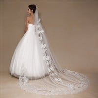 high grade -good quality double layer soft new long lace veil bride married wedding cute bow stylish white lace dress   accessories / 3m long lace veil for wedding = 1930190404